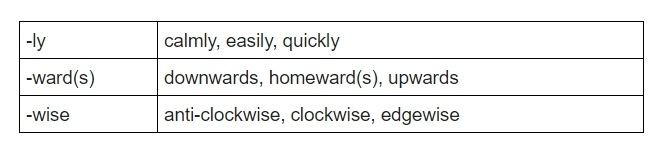 adverb suffixes